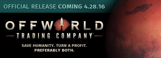 Soren Johnson's Offworld Trading Company to be released on April 28, 2016