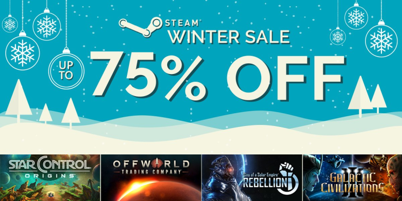Up to 75% off our titles during the Steam Winter Sale